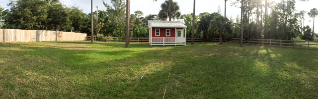 Photo of: Wide angle view of the new pump house at the back of Howie's Homestead