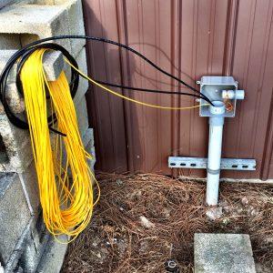 conduit outside the barn
