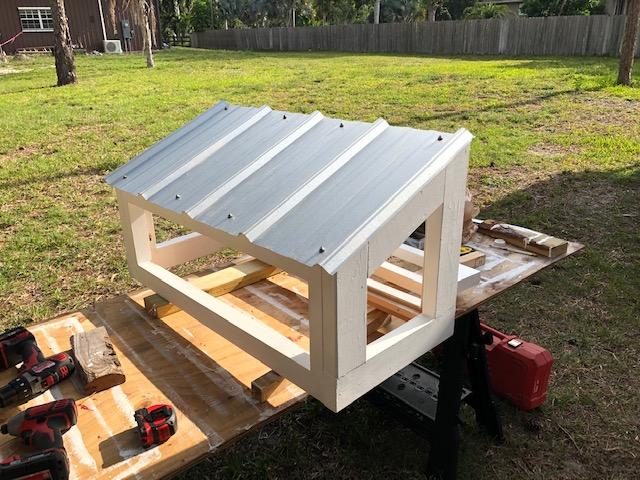 Nest box assembled and ready to install on coop